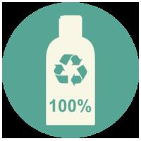 100% perdirbami buteliukai